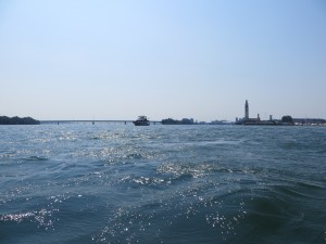 """Leaving Montreal Harbour with """"My Resi"""" beside us to ensure we entered the currents safely."""
